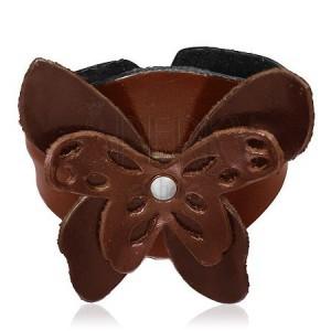 Kožený náramok - hnedý motýľ s výrezmi