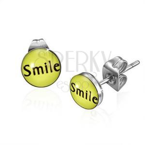 Malé oceľové puzetové náušnice s nápisom Smile
