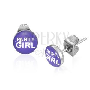 Náušničky z ocele s nápisom Party Girl, fialové