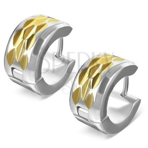 Náušnice z ocele - kosoštvorcový výbrus na zlatom páse