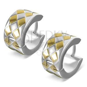 Oceľové okrúhle náušničky - prekrížené pásy s kosoštvorcami