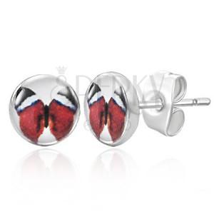 Puzetové náušničky s červeným motýľom