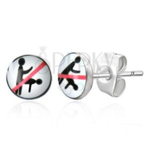 Puzetové oceľové náušničky - zakázaná sexuálna poloha