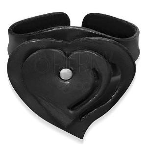 Ohybný kožený náramok s vrstveným srdcom, čierny
