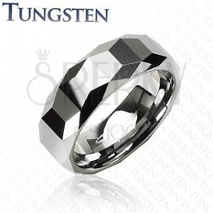 Wolfrámový prsteň - vysokolesklý s geometrickým vzorom