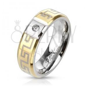 Oceľový prsteň s gréckym vzorom - so zirkónom