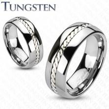 Wolfrámový prsteň s pleteným vzorom striebornej farby, 6 mm