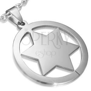 Prívesok z ocele s plnou hviezdou v kruhu