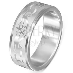 Oceľový prsteň - matný s lesklým kmeňovým vzorom
