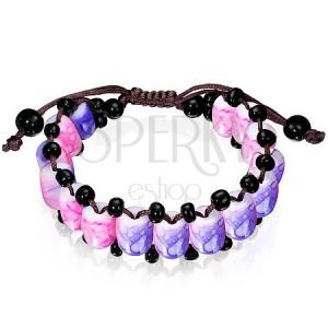 Shamballa náramok - korálky s fialovo-ružovým mramorovým vzorom