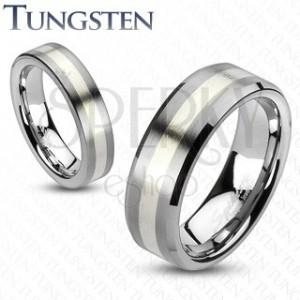 Wolfrámový prsteň - matný šedý s pásom striebornej farby