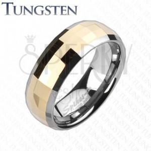 Wolfrámový prsteň - obdĺžnikové lomené fazety zlatej farby