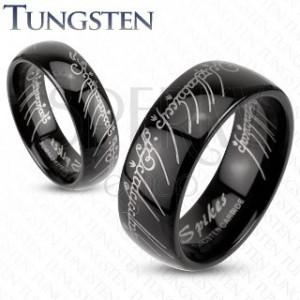 Prsteň z wolfrámu - hladká čierna obrúčka, Pán prsteňov