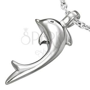 Prívesok z ocele 316L striebornej farby, lesklý delfín