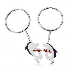 Prívesky na kľúče pre dvoch - delfíny fbbb4ed94a2