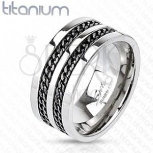 Titánový prsteň - čierne retiazky