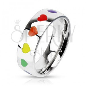 Lesklý prsteň z ocele s dúhovými srdiečkami