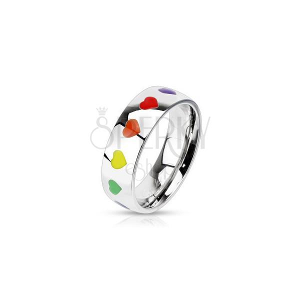Lesklý prsteň z ocele s dúhovými srdiečkami, 6 mm