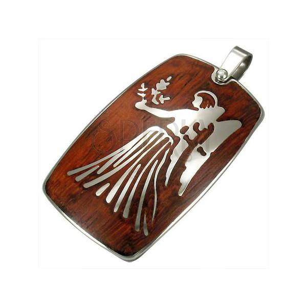 Oceľový prívesok s dreveným pozadím - zverokruh znamenie Panna