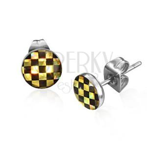 Puzetové náušnice z ocele - šachovnica v čiernej a žltej farbe