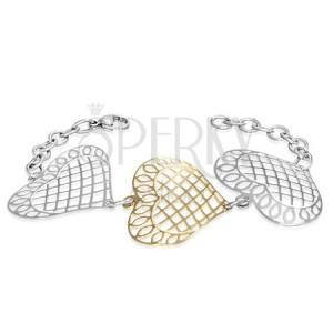 Oceľový náramok - veľké mriežkované srdcia s ornamentami