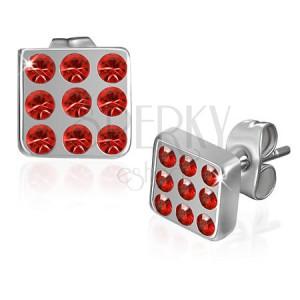 Náušničky z ocele - štvorec vykladaný červenými zirkónmi