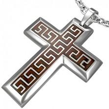 Prívesok z chirurgickej ocele kríž s hnedým podkladom a aztéckym vzorom