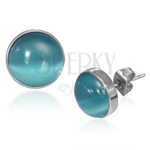 Puzetové náušničky z ocele - vypuklý modrý kameň mačacie oko