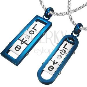 """Prívesky pre dvojicu - hranatá a oválna známka s nápisom """"LOVE"""", modré"""