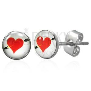 Náušnice z chirurgickej ocele červené srdce so šípom