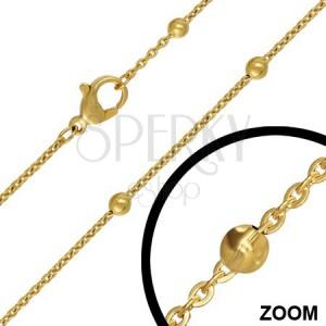 Oceľová retiazka s malými očkami a guličkami, zlatá farba, 3 mm