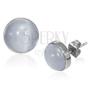 Puzetové náušnice z ocele - sivo-biely kameň mačacie oko