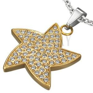 Prívesok z ocele - hviezda so zirkónmi