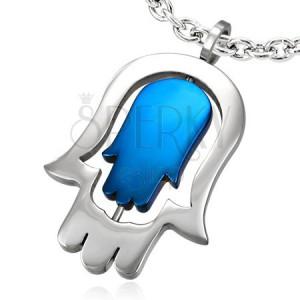 Prívesok z chirurgickej ocele - dvojitá ruka Fatimy, modrá