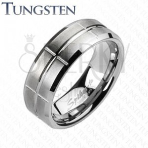 Wolfrámový prsteň - brúsený, so zárezmi