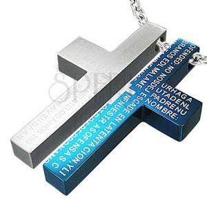Oceľový dvojprívesok - modlitba na kríži