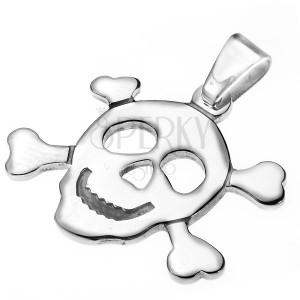 Oceľový prívesok - pirátska lebka s kosťami