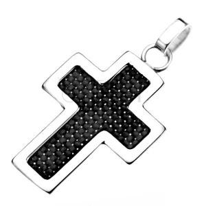 Oceľový prívesok - obrys kríža striebornej farby s čiernou štruktúrou