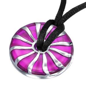 Prívesok z ocele špirálovitý fialový kruh so stredovou dierkou