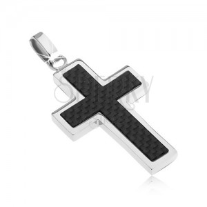 Oceľový kríž - ozdoba s karbónovým dizajnom