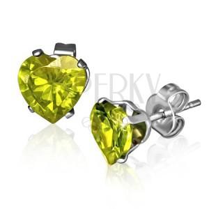 Puzetové náušnice z ocele - zeleno-žlté zirkónové srdcia, August