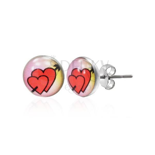 Puzetové náušnice z ocele 316L- zaľúbené srdcia so šípom