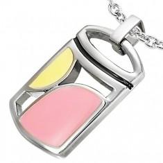 Šperky eshop - Oceľový prívesok s výrezmi a geometrickými tvarmi žltej a ružovej farby AA08.23