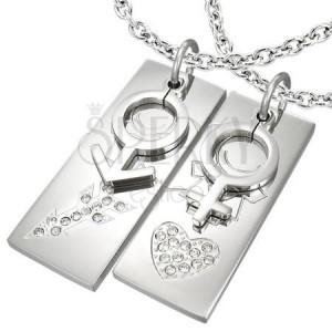 Náhrdelníky pre zamilovaných - obdĺžnik so symbolom ONA a ON na retiazkach