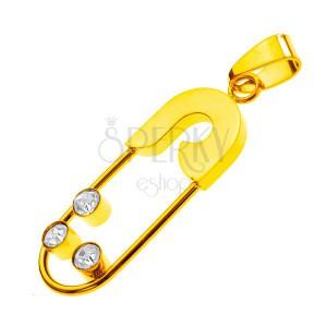 Oceľový prívesok - zicherka s tromi zirkónmi, zlatá farba