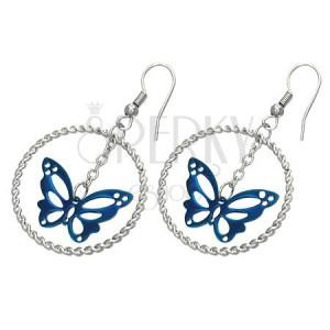 Oceľové náušnice striebornej farby, modrý motýľ v kruhu, háčiky