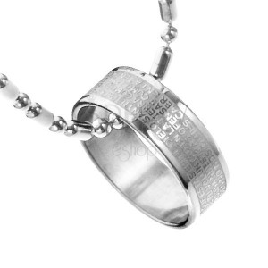 Oceľový náhrdelník - prsteň s modlitbou Pána, retiazka