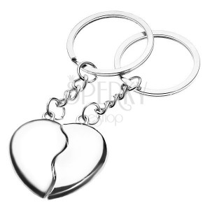65cbb3904 Prívesky na kľúče pre pár - lesklé polovice sŕdc | Šperky Eshop