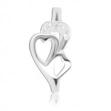 Strieborný prsteň 925 – tri srdiečka, vsadené zirkóniky