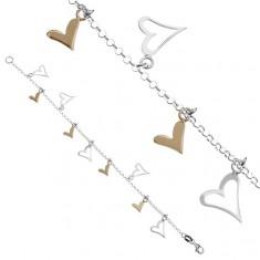 Šperky eshop - Retiazka na ruku zo striebra 925 - dvojfarebné srdiečkové prívesky Y54.10
